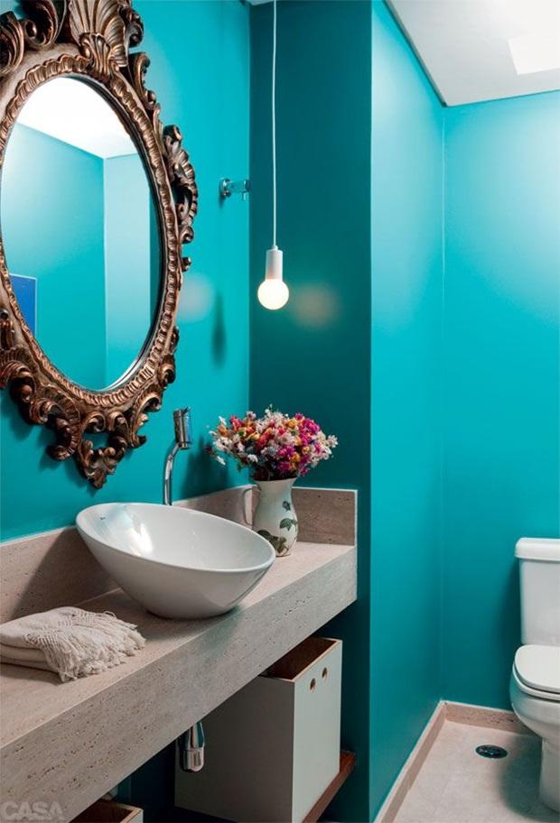 Pisos e Revestimentos para Banheiros  Como Usar -> Pia Banheiro Azul