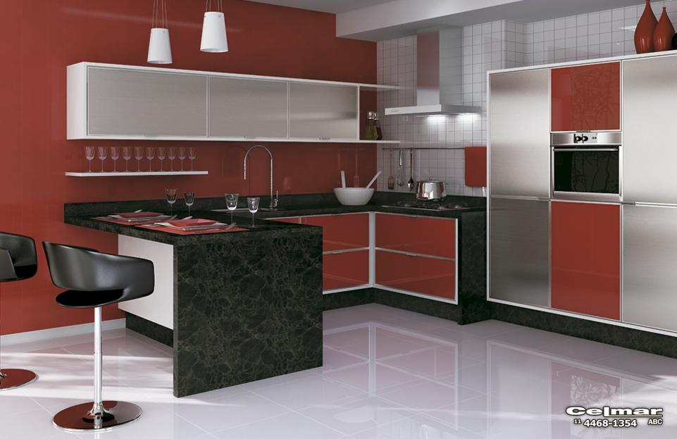 Móveis Planejados para Apartamentos Pequenos # Cozinha Planejada Pequena Com Vermelho