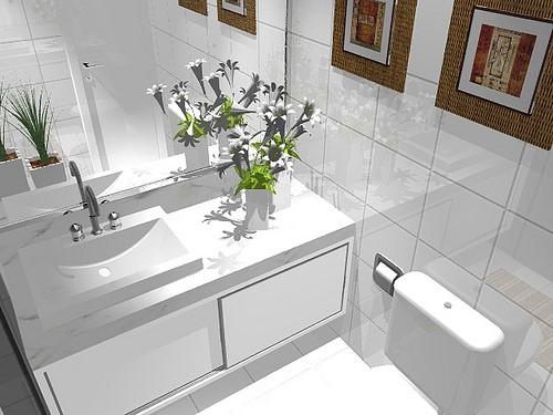 Armários planejados para banheiro grandes e pequenos -> Armario De Banheiro Planejado Com Cesto De Roupa