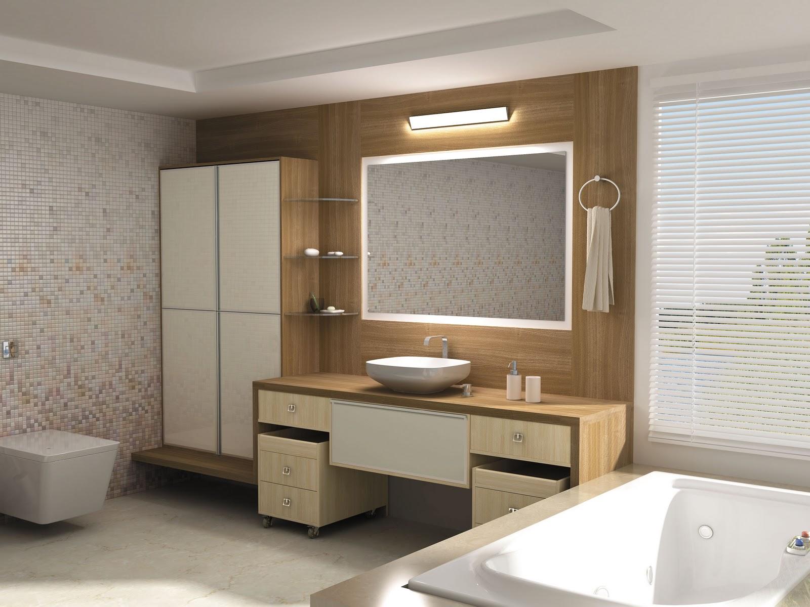 Armários planejados para banheiro grandes e pequenos -> Banheiros Planejados Grandes
