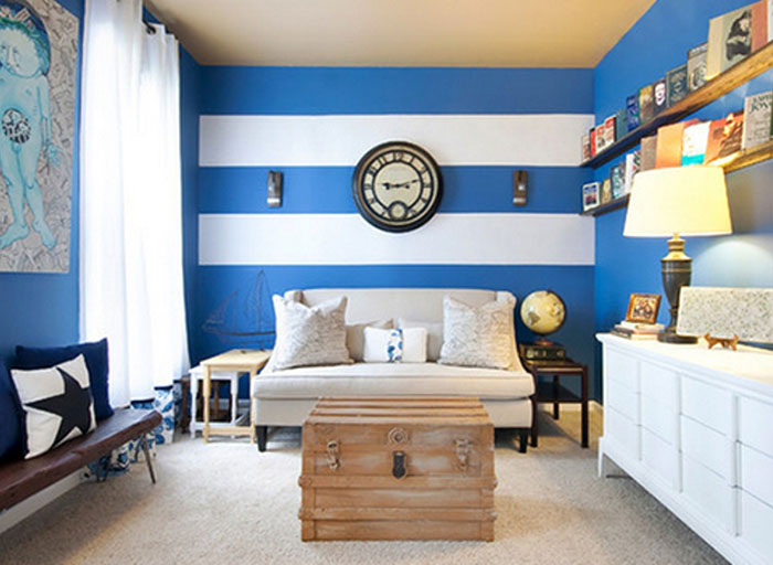 Aprenda a escolher a cor para a parede da sala for Black white and blue living room ideas