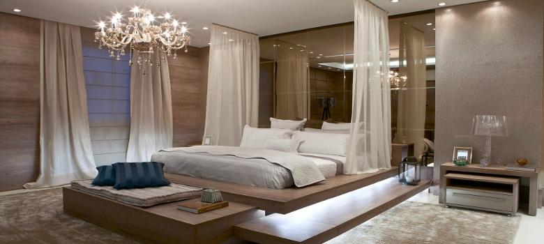 Decoração de quarto de casal moderna e elegante