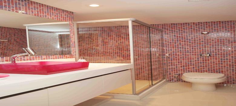 Porque Amamos Decoração Rosa Para Banhei -> Banheiro Decorado Com Pastilhas Rosa