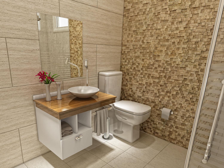 Modelos de banheiro com pastilhas para você criar sua decoração -> Banheiro Pequeno Gabinete