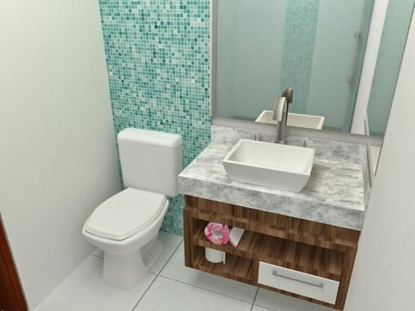 Modelos de banheiro com pastilhas para você criar sua decoração -> Banheiro Com Faixa De Pastilha Vertical
