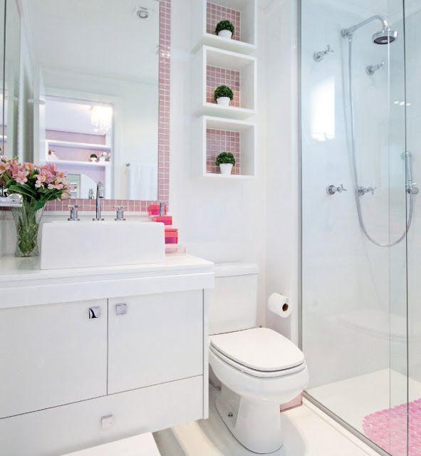 Banheiro Pequeno Decorado  Guia Completo de Decoração -> Decoracao Banheiro Clean