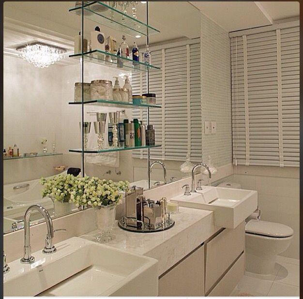 Prateleiras para banheiros pequenos  Dicas -> Decoracao De Banheiro Com Prateleiras De Vidro