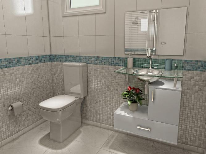 Banheiros pequenos  Dicas de decoração, fotos, como decorar -> Decoracao De Banheiros Modernos Pequenos